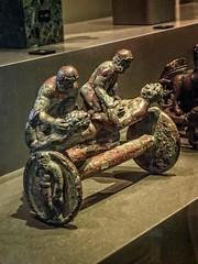 Beautifully detailed chariot attachment depicting wrestlers 1st - 2nd century CE Roman Bronze (mharrsch) Tags: chariot transportation wrestler athlete bronze roman neuesmuseum berlin germany mharrsch 1stcenturyce 2ndcenturyce