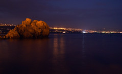 Rijeka Blues (pvanhala) Tags: rijeka lights bay gulf kvarner night sky sea rock reflection blue