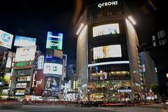 Shibuya Scramble (Jamie Barras) Tags: people signs japan night dark advertising tokyo evening neon crossing pedestrian illuminated after nightscene qfront videoscreens