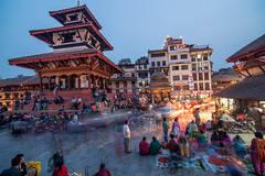 Trailokya Mohan Narayan Temple at dusk