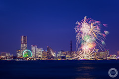 Sparkles in Twilight / Yokohama Port Festival 2015 (45tmr) Tags: japan twilight cityscape nightscape fireworks yokohama 夜景 花火 pentaxk3