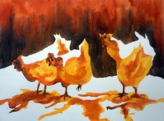 Three chickens, by Fernanda - DSC09661 (Dona Mincia) Tags: 3 bird art animal watercolor painting paper galinha arte inspired study ave tribute homage pintura homenagem releitura aquarela trs inspirado rereading patweaver relecture threechickens