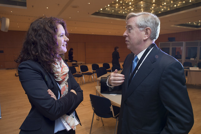 Sarah Hunter and Pat Cox at the Ministers' Roundtable