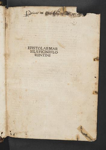 Monastic inscription in Ficinus, Marsilius: Epistolae