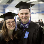 "<b>Commencement 2015</b><br/> Jenny Bonnell and Connor Mattison pose for a quick photo. Commencement 2015. Photo by Aaron Lurth.<a href=""http://farm9.static.flickr.com/8894/18387449821_a543ba9254_o.jpg"" title=""High res"">∝</a>"