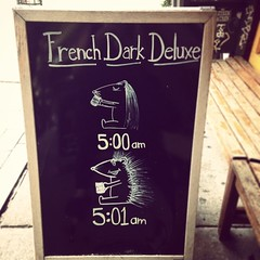 I wish caffeine did this to me. (tokyohanna) Tags: coffee square squareformat brannan hedgehog chalkboard iphoneography instagramapp