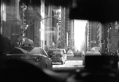 taxi vision (thisquietkid) Tags: new york nyc light blackandwhite bw newyork film monochrome 35mm kodak tmax trix analogue bwdreams nodigital