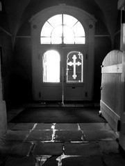 Holy door (DanielHiller) Tags: holy door indoor window cross x light black white bw schwarz weis tr kreuz kirche church deutschland germany suhl thringen thueringen smartphone cellphone telefon wiko