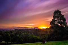 Winter Sunset (satochappy) Tags: park sunset sky clouds woods couple sydney australia nsw romantic colourful    sunsetclouds  flickrfriday    denistone