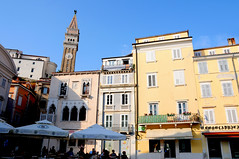 Tartini Square facades and Bell Tower, Piran / Slovenia (anji) Tags: slovenia slovenija piran pirano adriaticsea istra istria exyu exyugoslavia southeasteurope