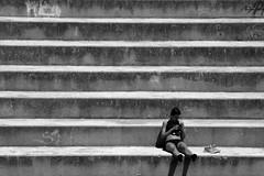 City break (Daniel Nebreda Lucea) Tags: woman girl chica mujer relax relajacion break descanso city ciudad lines lineas composition composicion black white blanco negro texture textura pattern patron street calle capture captura urban urbano people gente monochrome travel viajar sit sentarse stairs escaleras shadows sombras lights luces eoshe