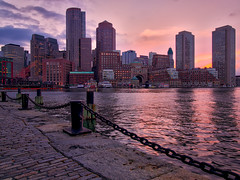 Fan Pier in pink (Jim Nix / Nomadic Pursuits) Tags: travel sunset boston skyline sunrise cityscape massachusetts olympus hdr goldenhour lightroom fanpier nomadicpursuits macphun jimnix olympusomdem1 aurorahdrpro