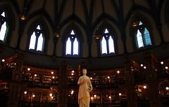 Expanse of Knowledge. (Wilickers) Tags: canon canada 60d ottawa structure library statue queen victoria books lights literature architecture windows dome
