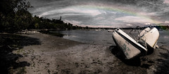 Life after the storm (Natalia Medd) Tags: ocean old travel trees sea summer sky panorama storm beach clouds marina landscape boats rainbow sand serenity after serene iphone