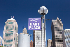 Hart Plaza (Beau Finley) Tags: detroit michigan unitedstates us blue sign text outdoor beaufinley plaza hart downtown city urban old building architecture lamp usa