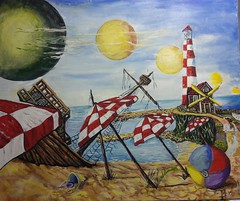 THE LIGHT HOUSE (tomas491) Tags: ship planets lighthouse beach art oilpainting shipwreck sand parasol fantasy sky clouds beachball girl women moon sea sandbucket sunshine summer umbrella drawing