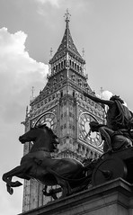 Boudicca in Westminster (Francis Mansell) Tags: london westminster statue horse boudicca boadicea chariot bigben outdoor elizabethtower clocktower palaceofwestminster clock tower