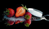 Sweet and Juicy Strawberries. (Through Serena's Lens) Tags: strawberries red sugar silver spoon reflection stilllife tabletop closeup berries fruits