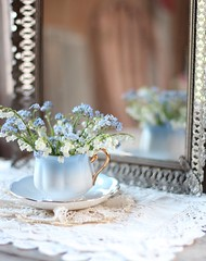 29/100 ~reflections~ (s@ssyl@ssy) Tags: stilllife reflection canon vintage lace antique 50mm14 forgetmenot teacup delicate lilyofthevalley doilies