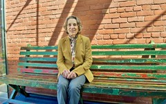 "Diane Disney Miller, on ""Walt's Bench"" from Griffith Park"