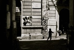 Via Roma (Gremxul) Tags: 50mm nikon d600 14high mmsiracusasyracusesiciliasicilybwmonochromestreet photographysilhouetteshadows1on1shadowsilhouettesphotooftheweeknikkornikkor contrastgremxulnikon