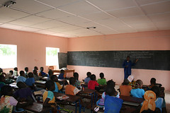 Students attending class in Guani, Mali