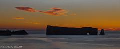 """Early Rise"" (maureen.elliott) Tags: sunrise dawn skies rockform perce quebec water ocean gulfofstlawrence scenic landscape clouds colour"