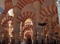 Spain (Cordoba) The prayer hall of Great Cordoba Mosque with 856 columns connected with double red-white colored arches (ustung) Tags: spain cordoba mezquita mosque architecture arch doublearched red white prayer hall column kodak