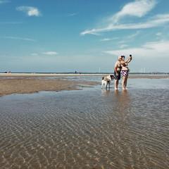 Trinity (toletoletole (www.levold.de/photosphere)) Tags: wasser netherlands dog meer zeeland hund street beach water beveland niederlande sea iphone couple paar