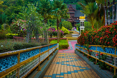 Sultanate Palace & Garden, Melaka Malaysia (ben_leash) Tags: flowers blue building architecture garden colorful southeastasia sony palace historic tiles malaysia historical melaka malacca a77