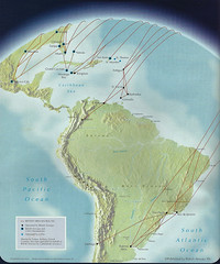 British Airways Caribbean and South America map, June 1996 (airbus777) Tags: southamerica 1996 diagram caribbean network ba britishairways tbt routemap