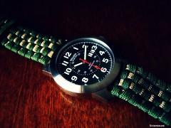 Gruen watch on green over tan paracord watchband (Stormdrane) Tags: watch gruen paracord