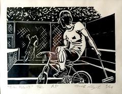 Bike Polo in Col. Summers Park (Polish Thunder - mikeskki) Tags: linocut print blackandwhite contrast bike polo tenniscourt park colonelsummers