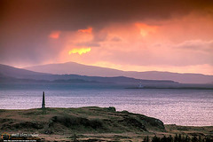 Hutcheson's Monument on the Isle of Kerrera at sunset-Neil_Alexander-06 (NeilAlexanderD) Tags: sunset sky lighthouse foothills monument water skyline island coast scotland europe moody cloudy unitedkingdom shoreline noone nobody nopeople shore coastline brooding hillside cloudcover kerrera seawater argyllandbute eileanmusdile cumuluscloud heritagetourism soundofkerrera toshore hutchesonsmonument cultureandthearts cloudtype