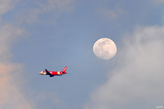 Fly me to the moon (ys.khoo) Tags: cloud plane moon afternoon sunsetlight flight fly wing planet 600mm telephoto nikon nikkor