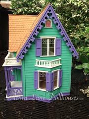 IMG_0418 (AcornLaneDollhouses) Tags: westville greenleaf dollhouse exterior green shingled siding handcrafted gingerbreadtrim