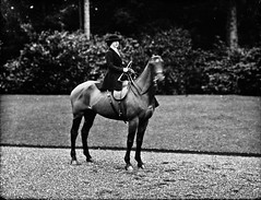 Miss Joan Musgrave, elder, on horse, hair stripe in coat (National Library of Ireland on The Commons) Tags: ahpoole arthurhenripoole poolecollection glassnegative nationallibraryofireland missjoanmusgrave horse drive lawn 18021911