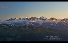 Sunset panorama of the Mt. Blanc massif, including the Grandes Jorasses, Mont Blanc, and Aguille d'Argentiere seen from Cabane Montforte above Verbier, Switzerland (jitenshaman) Tags: travel worldlocations destination vacation holiday europe switzerland wallis valais alps alpine france swiss mtblanc montblanc mountain mountains massif grandesjorasses sunset aguille pinnacle alpenglow cabanemontforte cabanedumontfort hauteroute