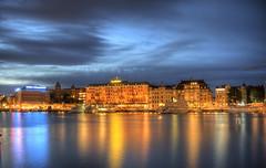 Grand Hotel, Stockholm (neilalderney123) Tags: 2016neilhoward sweden stockholm grandhotel water night reflections olympus omd cityscape