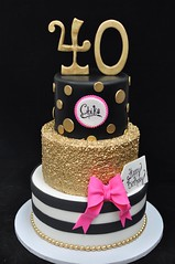 Black, gold and pink 40th birthday cake (jennywenny) Tags: birthday kate spade pink gold black white 40th