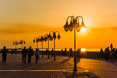 Sun is setting (Azarbhaijaan) Tags: sunset sea sun sexy water lamp yellow skyline seaside outdoor dusk bluesky shore serene kuwait peir kuwaitcity baghdadi pentaxk10d azharmunir drpanga