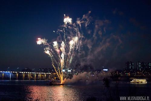 Nocny pokaz sztucznych ogni w Seulu