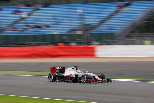 Romain Grosjean in the Haas in Free Practice 1 at the 2016 British Grand Prix