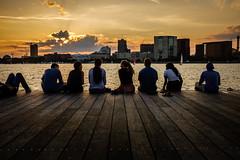 Friends (Braiu) Tags: city light street streetphotography sunset urban pier charlesriver river sun clouds