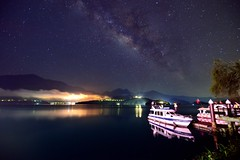 Starry night at Sun Moon Lake  (Vincent_Ting) Tags:        sunset clouds  sky taiwan water lake sunmoonlake sunrise    pier   morning dawn  galaxy        crepuscularrays vincentting  milkyway