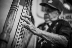 Harp Player (jamesonmatsuda) Tags: urban white man black zeiss sony 55mm harp a7