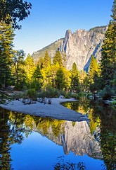Merced River Reflection, Yosemite_Ca (ronc316) Tags: trees mountain reflection wet forest river landscape sand merced yosemite granite mountainside yosemitevalley mercedriver glacierrock