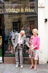 Bristol; July 2016 (Daniel Durrans) Tags: street urban woman man reflection shop lady vintage bristol dress streetphotography retro suit handbag urbanfox cornstreet