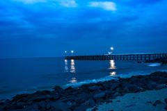Sea at Night (wandercrumbs) Tags: rock beach sea night bridge pondicherry puducherry