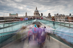 Rush Hour (damiendavis) Tags: city longexposure bridge england people urban blur building london english water glass thames skyline architecture clouds buildings movement exposure cityscape waterfront unitedkingdom citylife streetphotography blurred tourists symmetry millenniumbridge southbank busy walkway british rushhour stpaulscathedral footpath riverthames commuters peoplewatching cityoflondon londoners capitalcity buildingstructure iconicbuildings leefilters cathedraldome littlestopper nikond610 millenniumtraffic